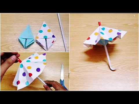 Make Folding Umbrella with Paper.Very Easy Craft Project 2018 (origami art)