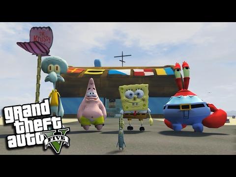 "GTA 5 Mods - SPONGEBOB'S ""KRUSTY KRAB"" w/ SQUIDWARD, MR KRABS & PLANKTON (GTA 5 PC Mods Gameplay)"