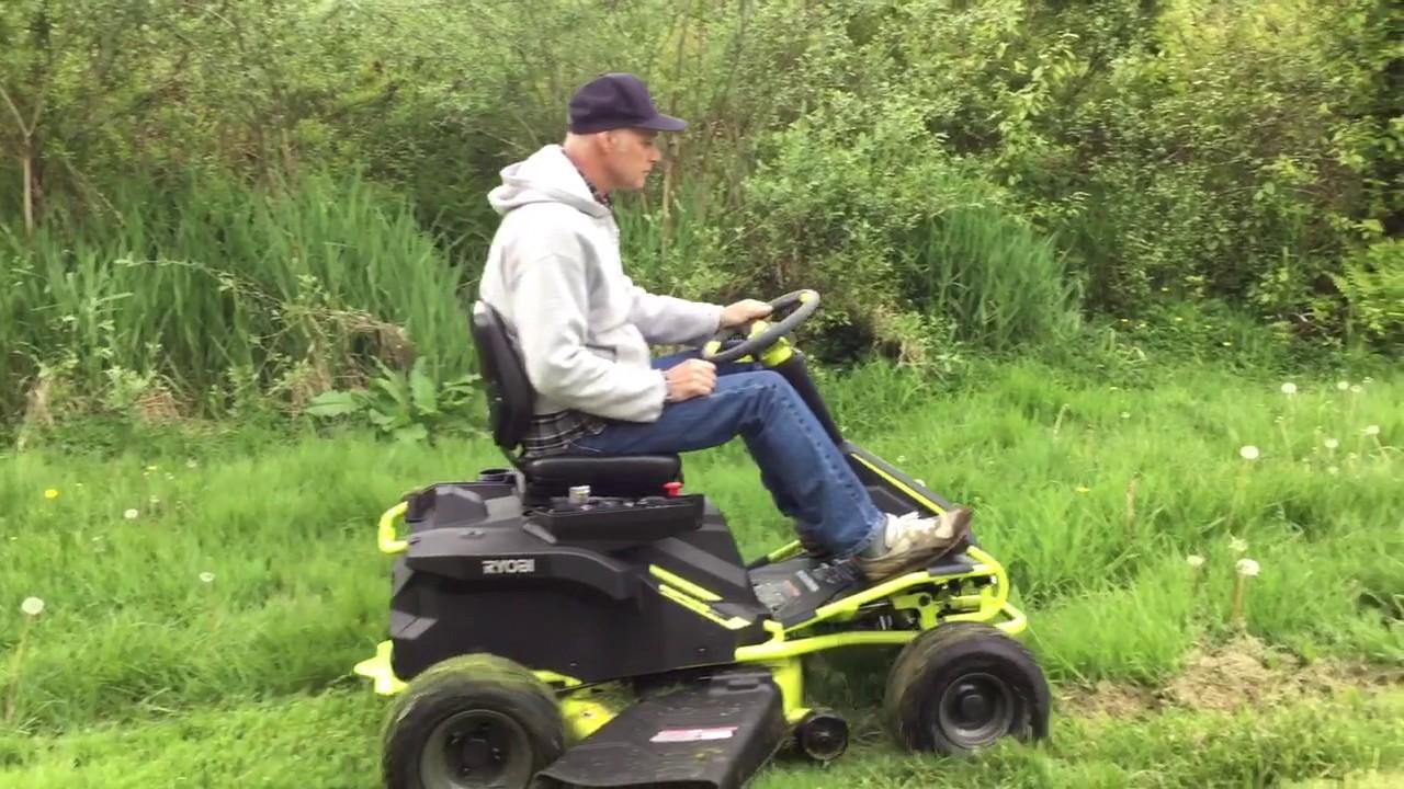 Ryobi Rm480ex Electric Riding Mower Cutting Tall Grass Youtube