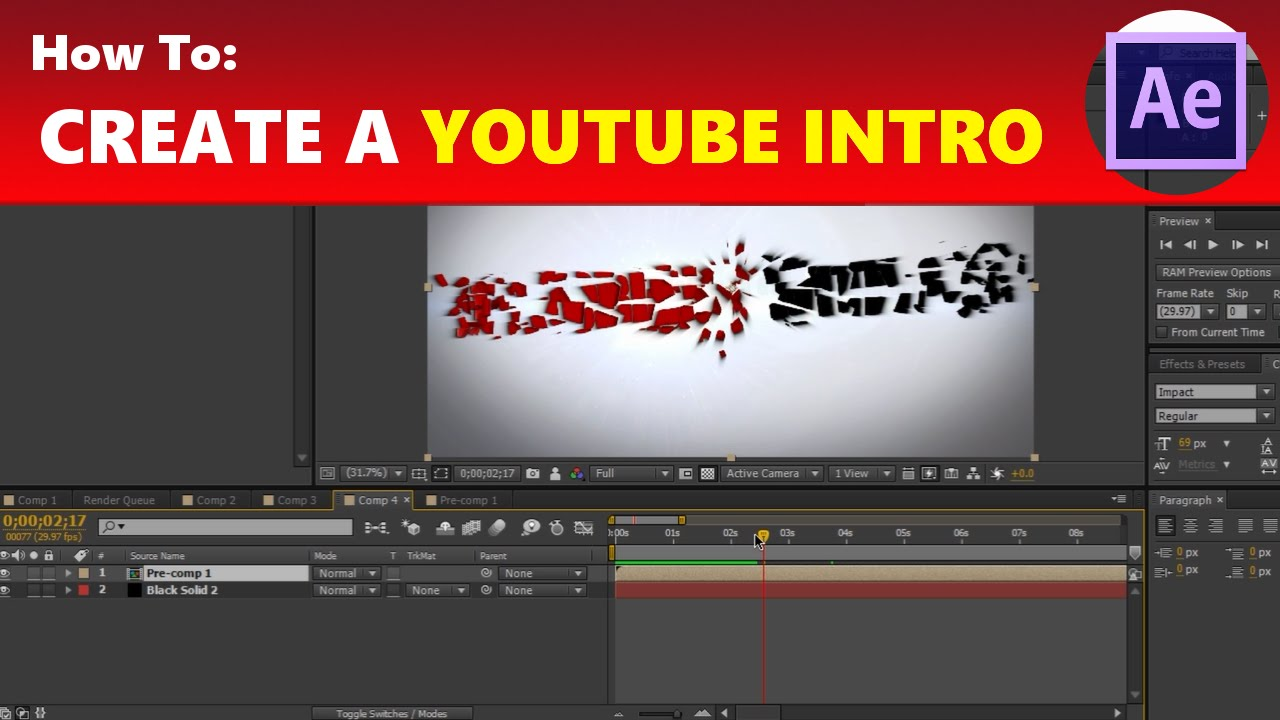 how to create an awesome yet simple youtube intro in