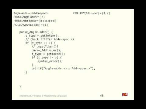 """CSE 340 9-16-15 Lecture: """"Syntax Analysis Pt. 5 and Semantics Pt. 1"""""""