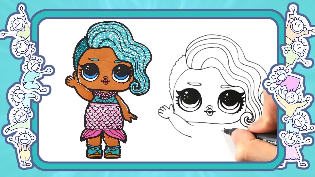 lol dolls - Как нарисовать куклу ЛОЛ Морская королева ...