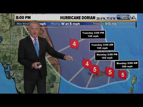 Category 5 Dorian packing 185 mph winds, Hurricane Warning for Jupiter Inlet to Brevard/Volusia