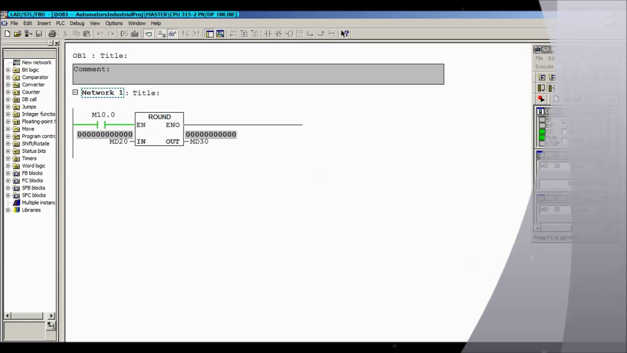 How to use ROUND Instruction in Ladder Siemens Step-7 Simatic Manager