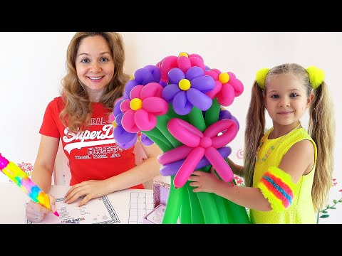 Diana and Roma make bouquets for Mommy