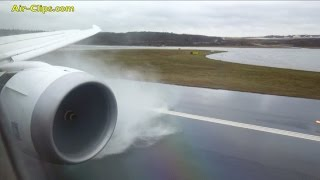 Norwegian B787-8 bad weather splash landing after HEAVY rainfall - MUST SEE! [AirClips]
