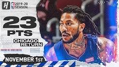 Derrick Rose RETURNS TO CHICAGO Full Highlights vs Bulls (2019.11.01) - 23 Pts, 7 Ast!