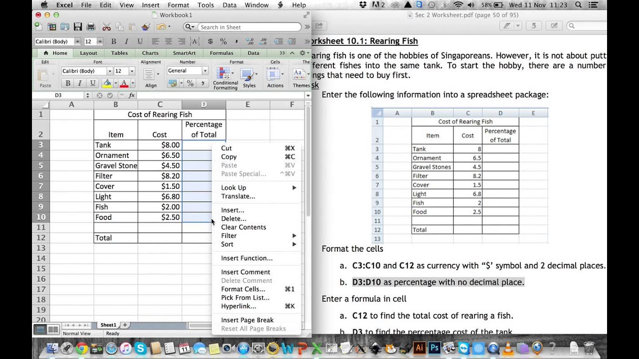 how to work out percentages of money on excel