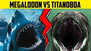 Megalodon VS Titanoboa (Giant Shark vs Monster Snake) | WHO WOULD WIN?
