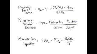 Equation Rapid Review: Physiologic Dead Space, Pulmonary Vascular Resistance & Alveolar Gas Equation