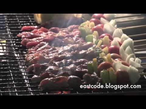 บาบีคิวหมู Ba-Bee-Que-Moo Thai pork BBQ  Thai street food