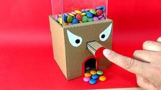 Bonibon Makinesi Nasıl Yapılır-How to make GumBall Candy Dispenser Machine from Cardboard