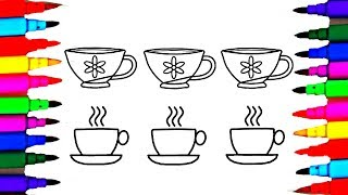 Tea cups and Saucers Coloring Drawing Pages Videos for Kids l Learn Art Colours