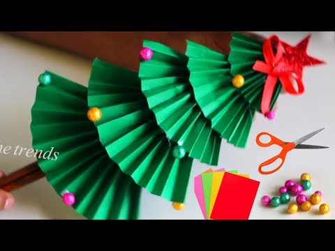 How to make christmas tree with paper for kids || christmas tree decoration ideas || DIY Xmas tree