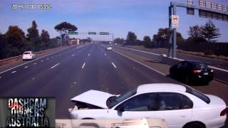 car spins out and crashes in front of truck caught on dash cam