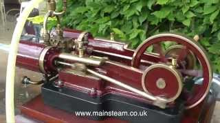 STEAMING THE TWIN TANGYE TYPE MODEL STEAM ENGINE IN THE GARDEN