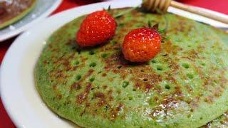 แพนเค้ก ผักโขม Spinach PANCAKE Recipe | Achara World