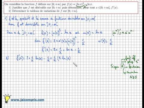 Fonction logarithme népérien - dérivée et tableau de variations de f(x)=(ln x)²- ln x : Exercice ...