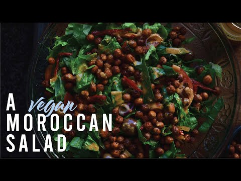 healthy moroccan vegan salad with spicy roasted chickpeas II 1st april 2020