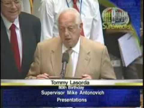 Supervisor Antonovich honors Tommy Lasorda on 80th Birthday