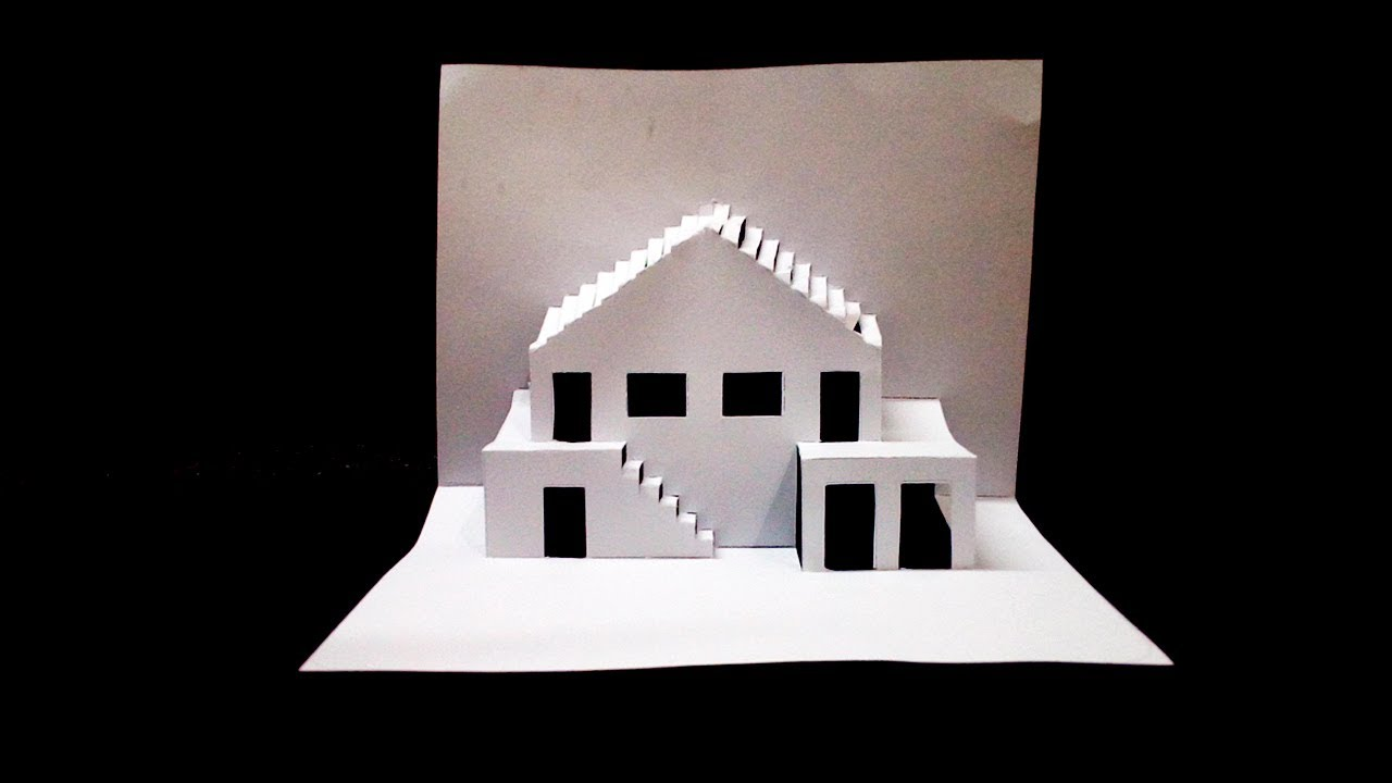 Diy Home Pop Up Card How To Make Diy 3d Pop Up House Card House Pop Up Card Template Youtube