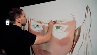 Process of creating painting with Coco Rocha