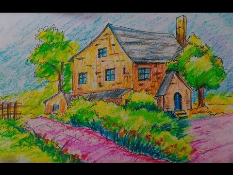 How To Draw A Beautiful Cottage House Easy Tutorial For Kids