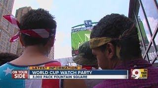 World Cup fans flock to Fountain Square to watch team USA battle Germany.