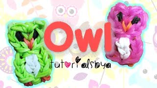Repeat youtube video Owl Charm / Mini Figurine Rainbow Loom Tutorial