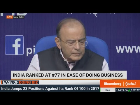 Finance Minister Arun Jaitley on India's Ease of Doing Business Ranking #BQ