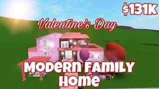 VALENTINE'S DAY THEMED MODERN FAMILY HOME (131k) | Bloxburg Speed Build | Roblox