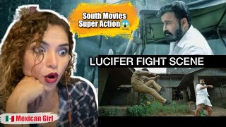 LUCIFER FIGHT SCENE REACTION | MOHANLAL | LUCIFER | MEXICAN GIRL