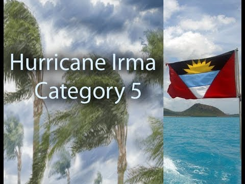 Antigua and Barbuda flag , category 5 Hurricane Irma arrives, there will always be a new era