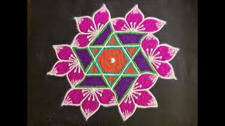 Simple Flower Rangoli Design with Beautiful Colours & Dots 7x4 for Beginners | Easy Kolam