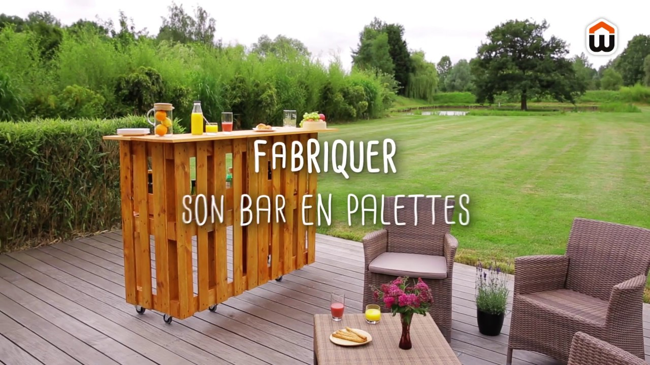 fabriquer un bar en palettes diy youtube. Black Bedroom Furniture Sets. Home Design Ideas