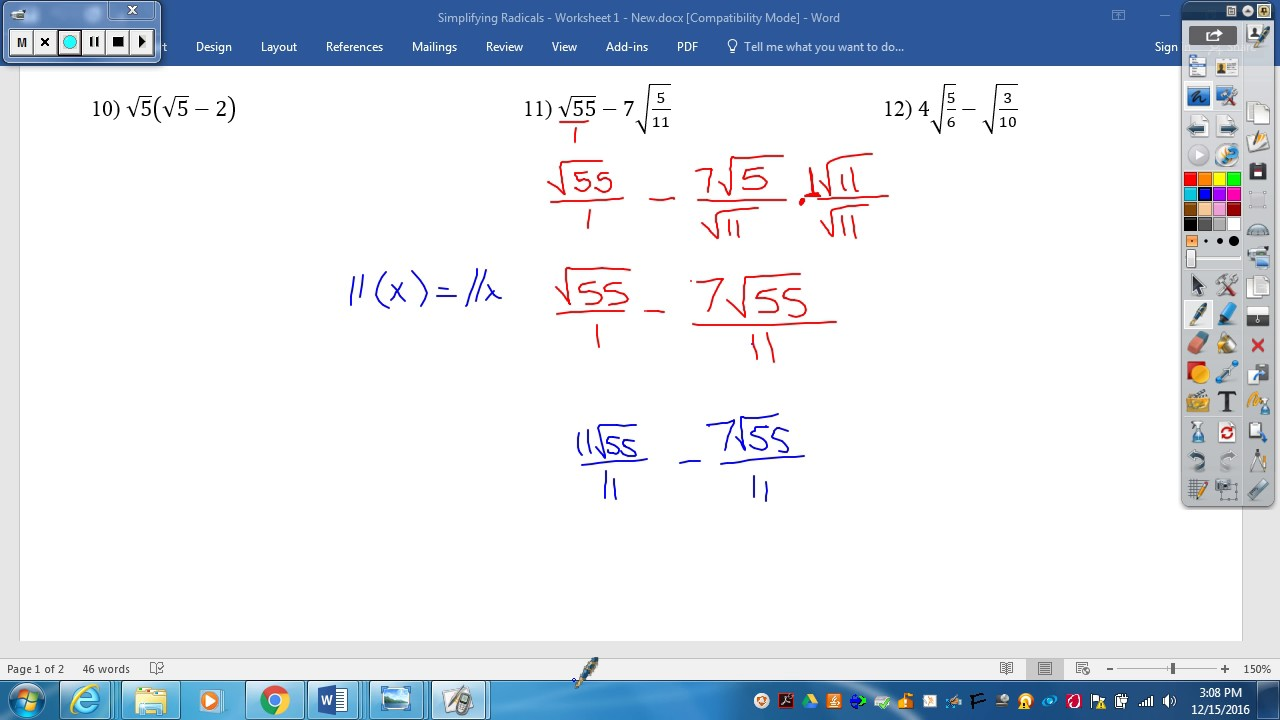 worksheet Simplifying Radical Worksheet simplifying radicals worksheet 1 youtube 1