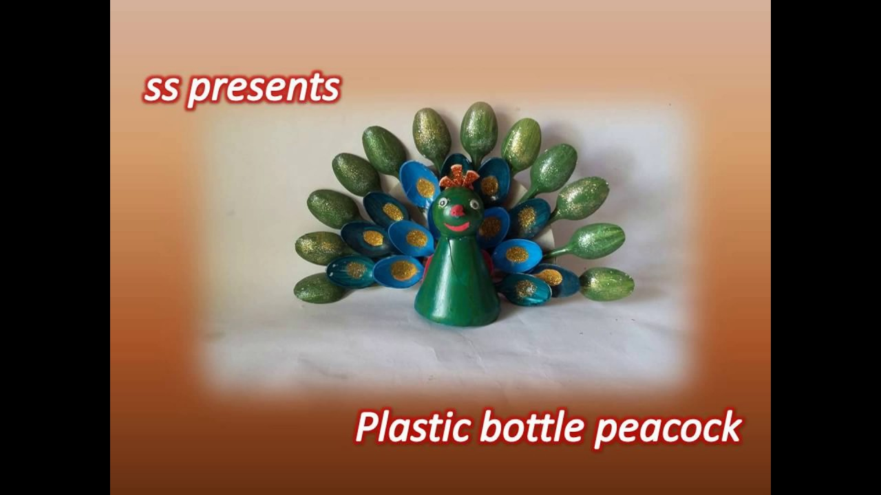 Best Of Waste Craft Ideas For Kids Part - 32: Best Out Of The Waste /Plastic Bottle And Plastic Spoons Peacock /Cool Kids  Crafts Ideas