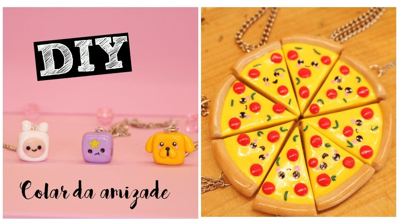 Colar Da Amizade Diferentes: DIY: 2 COLARES DA AMIZADE : Pizza KAWAII / GEEK HORA DE