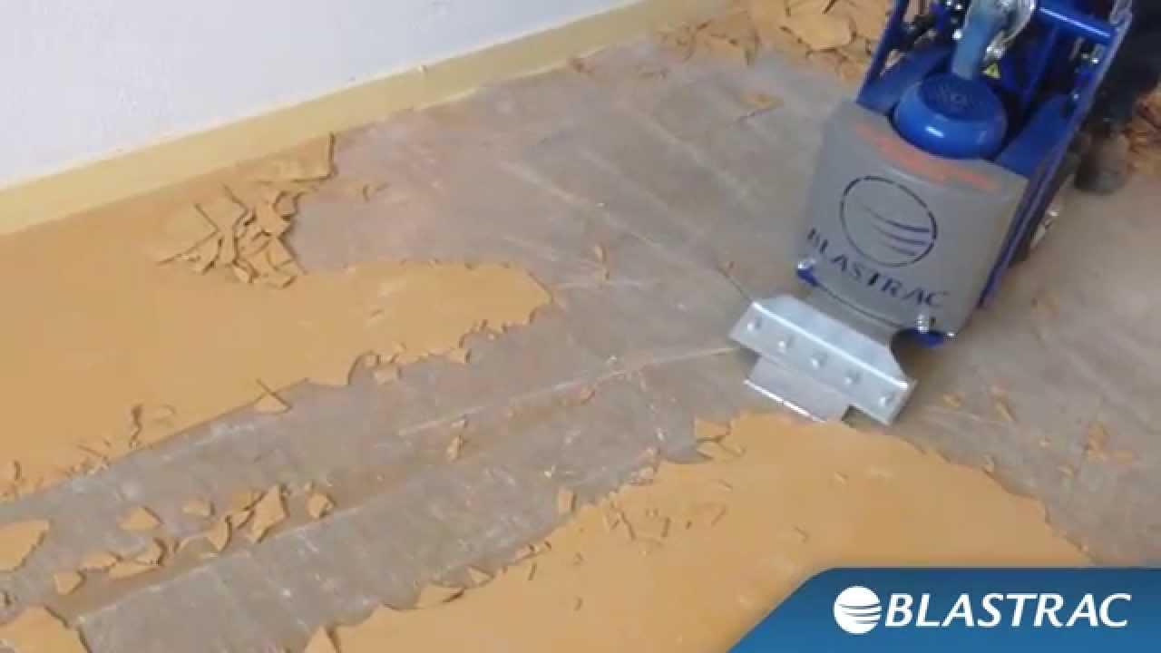 Rimozione PVC Linoleum e piastrelle con Stripper Blastrac BS110  BMS220ADB  YouTube