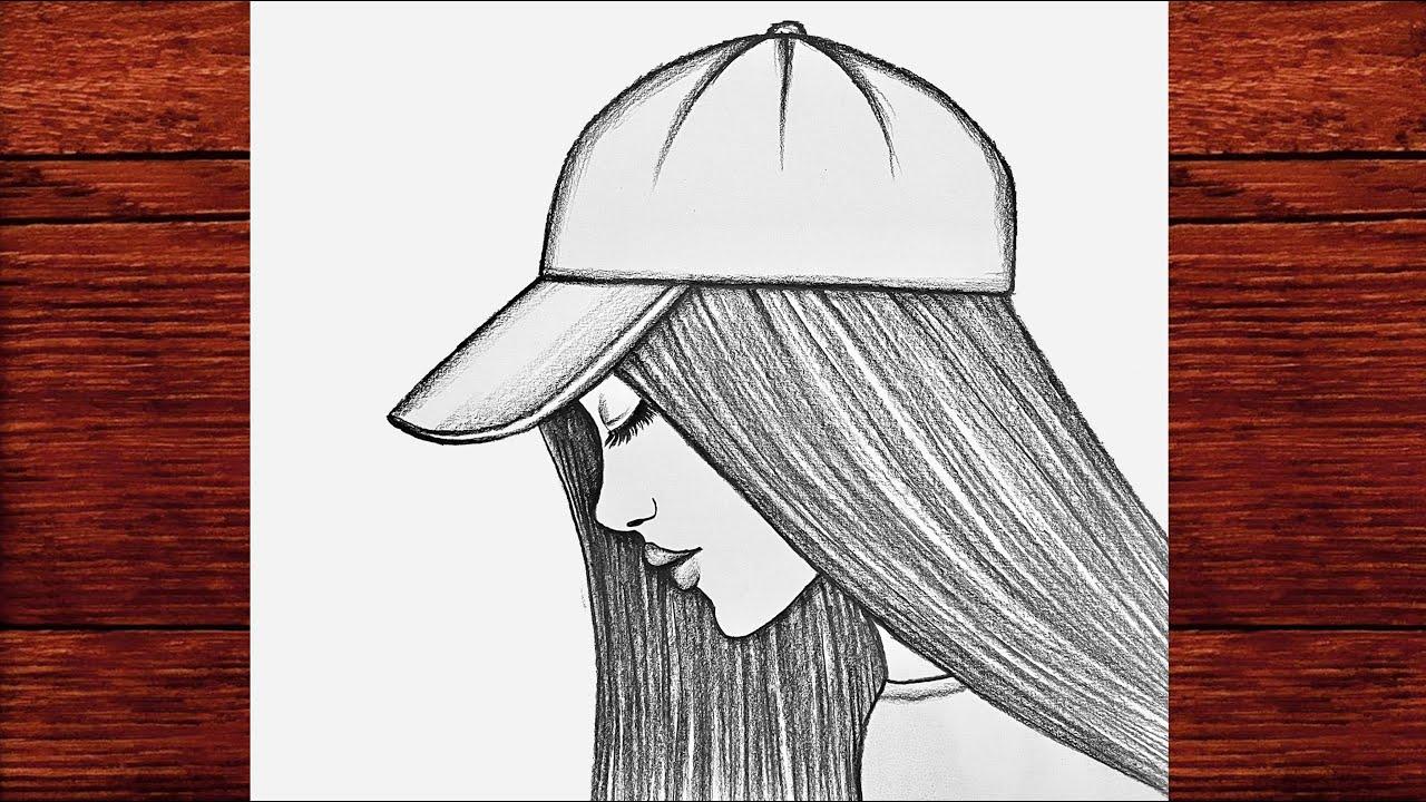 Kolay Şapkalı Kız Çizimi - Kolay Yoldan Şapkalı Güzel Kız Çizimi - Çizim Mektebi Easy Girl Drawing