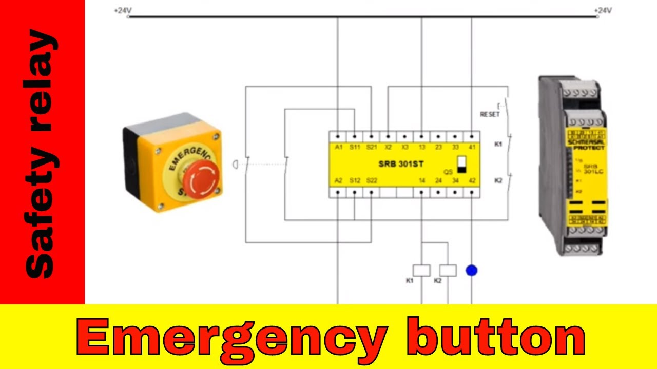 Wiring safety relay SRB301 and emergency stop. on lucas relay wiring, allen bradley relay wiring, crydom relay wiring, siemens relay wiring, bosch relay wiring, idec relay wiring, finder relay wiring,