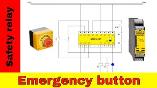 Wiring safety relay SRB301 and emergency stop.