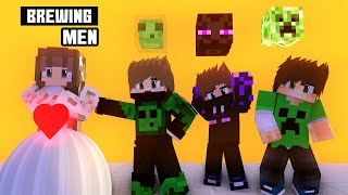 Monster School : Becoming Handsome Men Human - Brewing Men Minecraft Animation