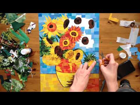 Sped Up Art - A Bright Paper Collage of Van Gogh's 'Sunflowers'