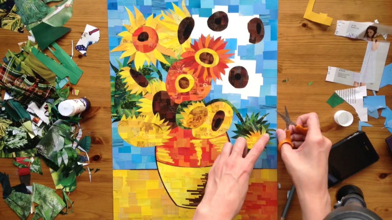 Sped Up Art A Bright Paper Collage Of Van Gogh S Sunflowers