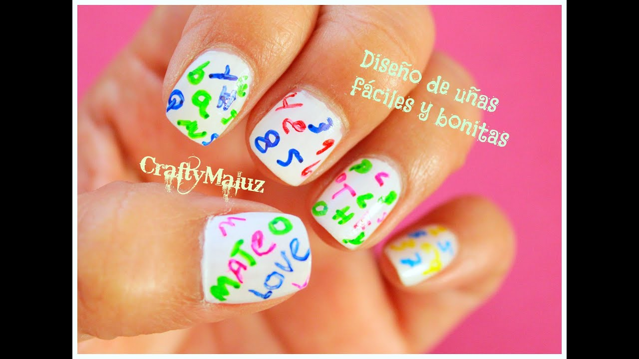 ♥DIY: Diseño de uñas fáciles y bonitas con letras - YouTube