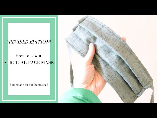How to SEW a MEDICAL face mask  with FILTER pocket and FLEXIBLE NOSE band // revised tutorial