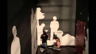 ЛОНДОН МОЛЛ роспись стены, силуэты  фигур, несколько часов до открытия