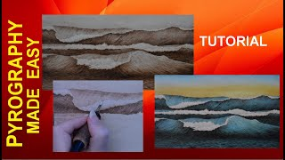 Crashing Ocean Waves Pyrography Tutorial with airbrushed color on wood burning