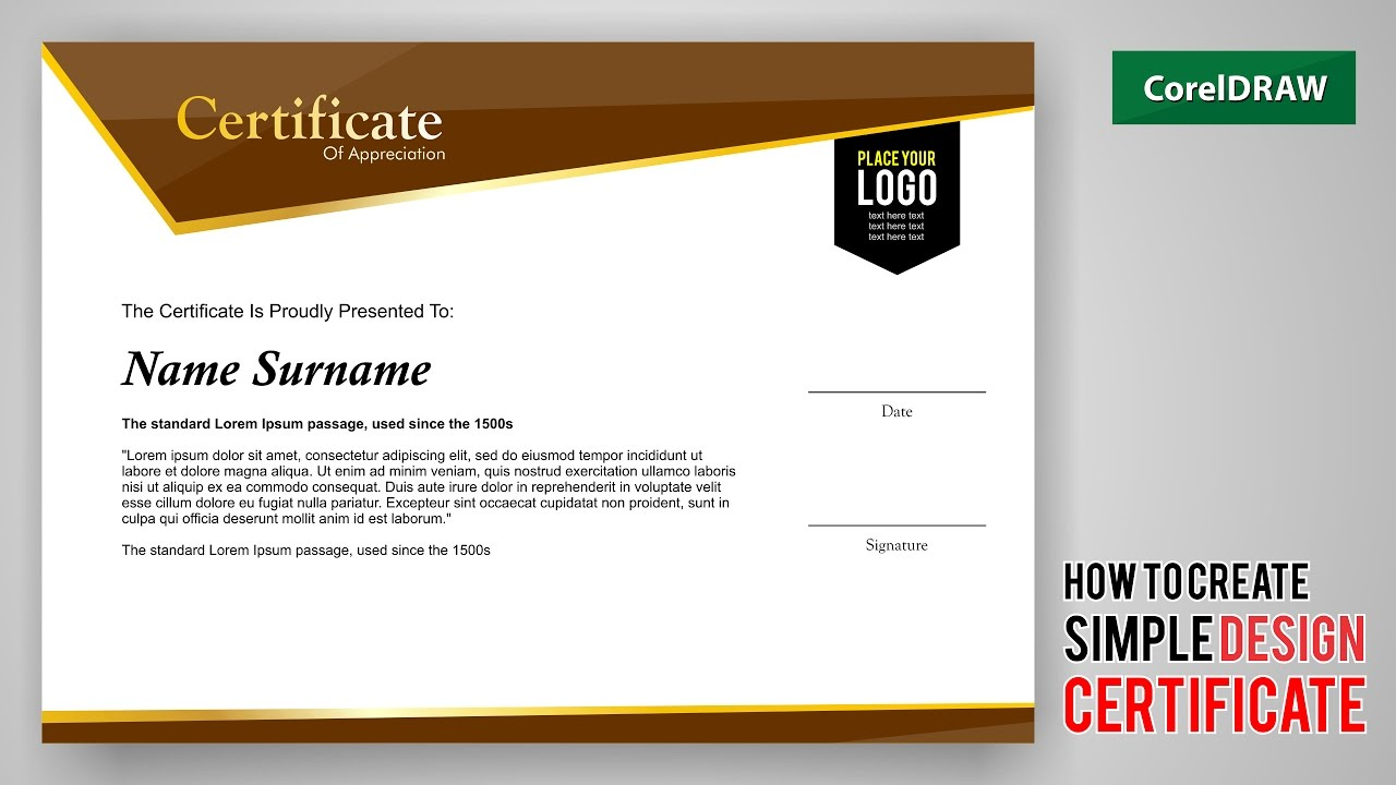 tutorial how to create design a certificate with coreldraw free